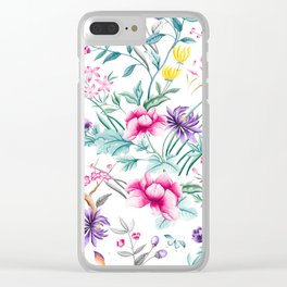 Chinoiserie Decorative Floral Motif Clear iPhone Case