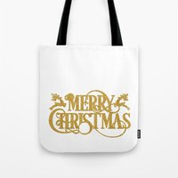 merry christmas Tote Bags featuring Merry Christmas by Better HOME
