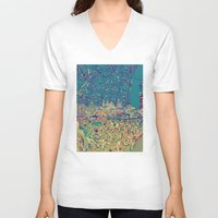 philadelphia V-neck T-shirts featuring philadelphia city skyline map by Bekim ART
