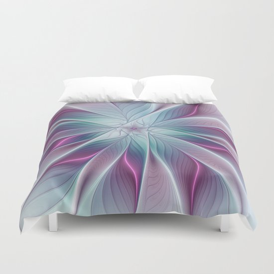 Floral and Luminous, abstract Fractal Art Duvet Cover
