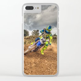 Blue and green Motocross action biker Clear iPhone Case