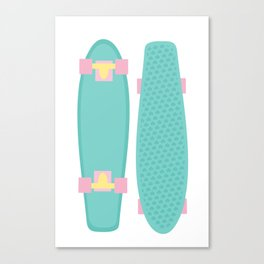 Pastel Skateboards Pattern Canvas Print