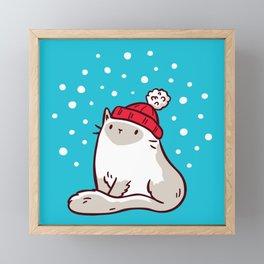 Cat Watching Snowfall Framed Mini Art Print