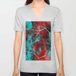 Abstract geometric pattern with Leaves contours. red maroo Unisex V-Neck