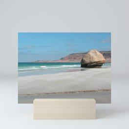 Scenic Tropical Beach with Boulder Landscape Mini Art Print