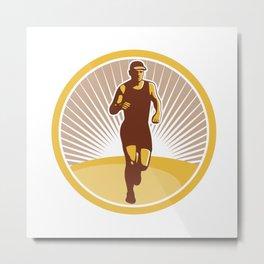Marathon Runner Running Front Circle Retro Metal Print