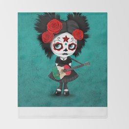 Day of the Dead Girl Playing Mexican Flag Guitar Throw Blanket