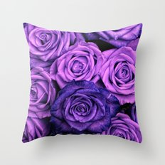 Purple Roses Throw Pillow