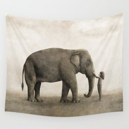 One Amazing Elephant - sepia option Wall Tapestry