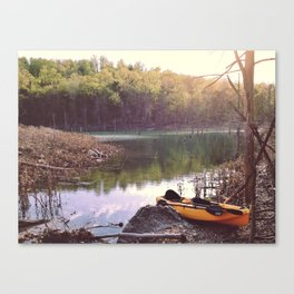 Exploring the lake, looking for new places. Canvas Print