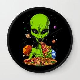 Alien Eating Pizza Wall Clock