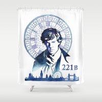 sherlock Shower Curtains featuring Sherlock by Jackie Sullivan