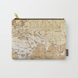 Vintage Map Pattern Carry-All Pouch