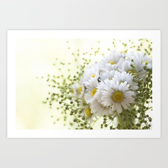 Bouquet of daisies in LOVE - Flower Flowers Daisy Art Print