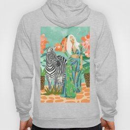 Never Change Your Stripes Illustration, Modern Bohemian Zebra Painting Wildlife Woman Hoody