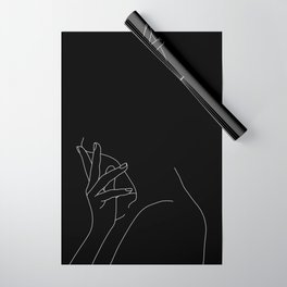 Hand on neck line drawing - Josie Black Wrapping Paper