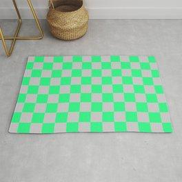 Checkered Pattern Light Gray and Vivid Cyan Lime Green Rug