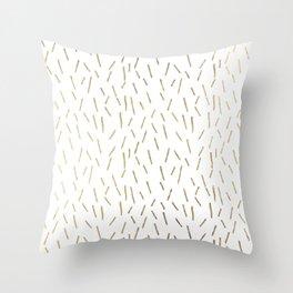 Elegant geometrical faux gold stripes confetti Throw Pillow