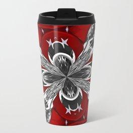 Red Black and White Kaleidoscope Travel Mug