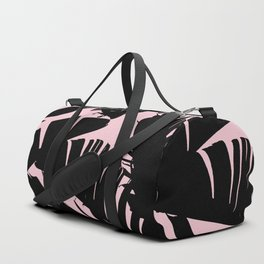 Unique Black and Pink Tropical Banana Leaves Pattern Duffle Bag