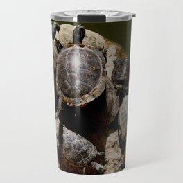Crowded beach Turtles sunbathing Travel Mug