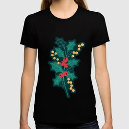 Happy Holly Berry Christmas green decor T-shirt