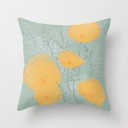 California Poppies in Gray Throw Pillow