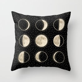 shiny moon phases on black / with stars Throw Pillow