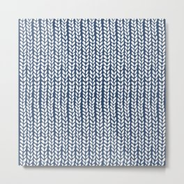 Knit Wave Navy Metal Print
