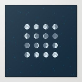 8bit Moon Phases Canvas Print