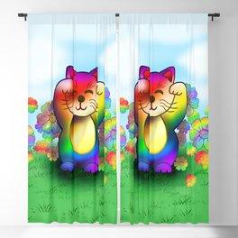 Cute rainbow lucky cat Blackout Curtain