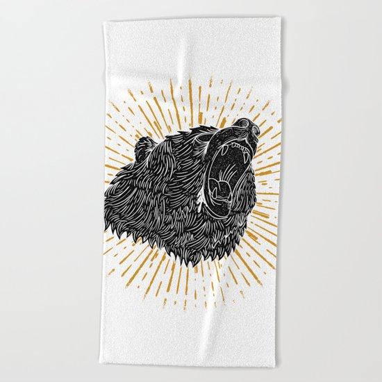 Bear Attack Beach Towel