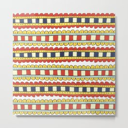 decorative red and navy stripes Metal Print