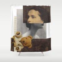 teddy bear Shower Curtains featuring Teddy by KatinkaHanselman