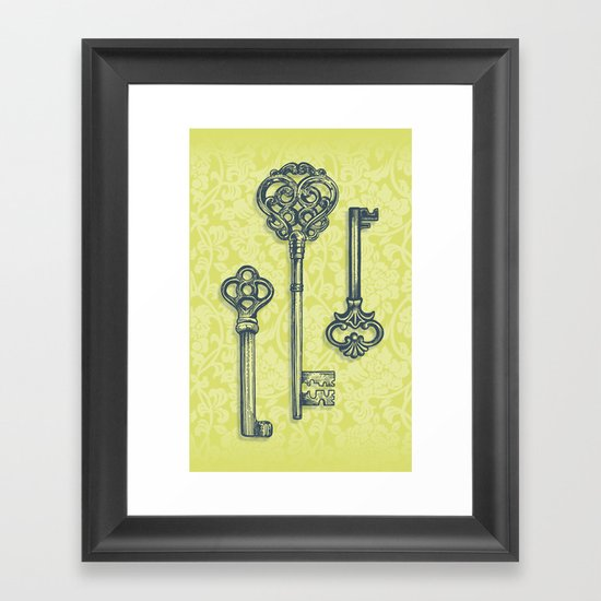 Three Skeleton Keys Framed Art Print