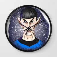 spock Wall Clocks featuring Spock by Eriboo