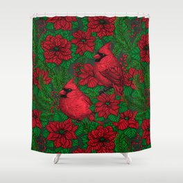 Cardinals and poinsettia for Christmas Shower Curtain