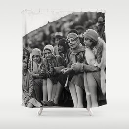 Jazz Age African American 1920's era flappers black and white photograph - art photography Shower Curtain