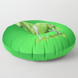 Lime Green Pinto Dripping Wet Paint Horse Floor Pillow