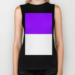 White and Violet Horizontal Halves Biker Tank