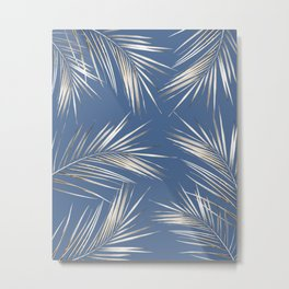 White Gold Palm Leaves on Ocean Blue Metal Print