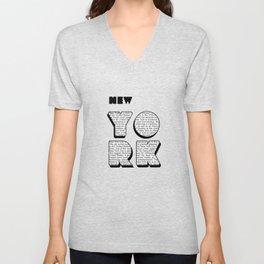 New York in writing Unisex V-Neck