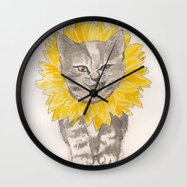 Sunflower Kitty Wall Clock