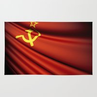 soviet Area & Throw Rugs featuring Flag of Soviet Union (1922-1991) by Lulla