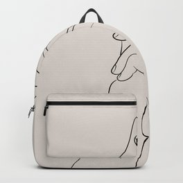 Holding hands line art. Backpack