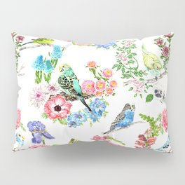 Budgies and Blooms Pillow Sham