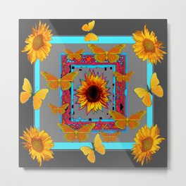 TURQUOISE SOUTHWEST ART YELLOW  BUTTERFLIES FLOWERS Metal Print