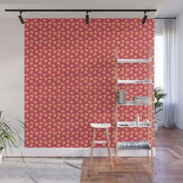 Autumn floral - yellow flowers on red Wall Mural