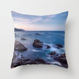 Rocky Shore - Waves Crash on Rocks Along Coast at Big Sur Throw Pillow