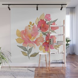 Delicate florals. Watercolor flowers. Lovely bouquet for girl. Wall Mural